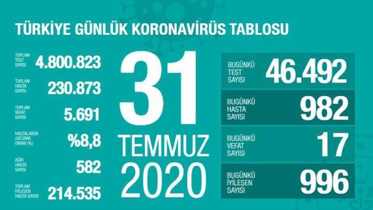 Türkiye 31 Temmuz korona tablosu