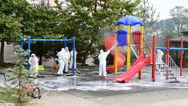 Altınordu'da Temizlik Timi Park ve Bahçeleri Dezenfekte Ediyor.