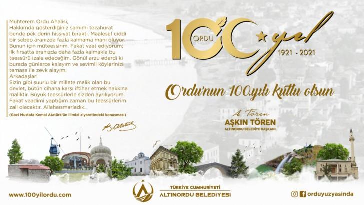 Başkan Tören, Ordu'muzun il oluşunun 100'üncü yılı kutlu olsun