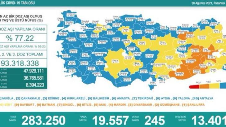 Türkiye'de bugünkü koronavirüs tablosu