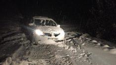 Ordu'da kar yolları kapattı, ekipler hastalar için seferber oldu