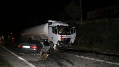 Ordu'da otomobil ile akaryakıt tankeri çarpıştı: 1 ölü