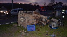Ordu'da otomobil ile çapa makinesi çarpıştı: 1 ölü, 3 yaralı
