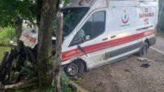 Ordu'da hasta taşıyan ambulans ağaca çarptı: 4 yaralı