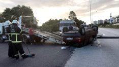 Ordu'da kaza yapan sürücü aracını bırakarak kaçtı