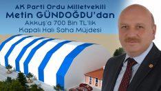 Metin Gündoğdu'dan Akkuş'a  Kapalı Halı Saha Müjdesi