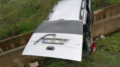 Ordu'da kamyonet su kanalına çarptı: 1 yaralı