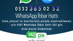 Ordu Büyükşehir  whatsapp ihbar hattı kurdu.