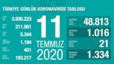 Türkiye 11 Temmuz korona tablosu